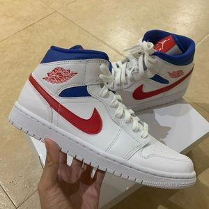 Air Jordan 1 mid White Red Royal 8M/9.5W
